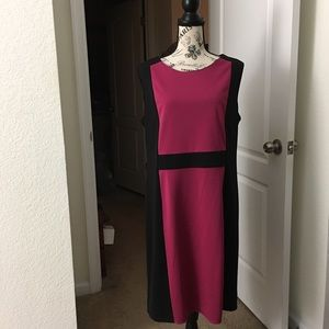 Fitted Pink/Black Colorblock Dress👗